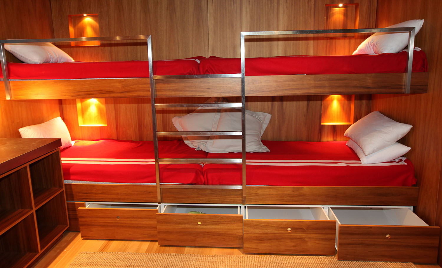 Australian Blackwood bunks with drawers at a holiday home