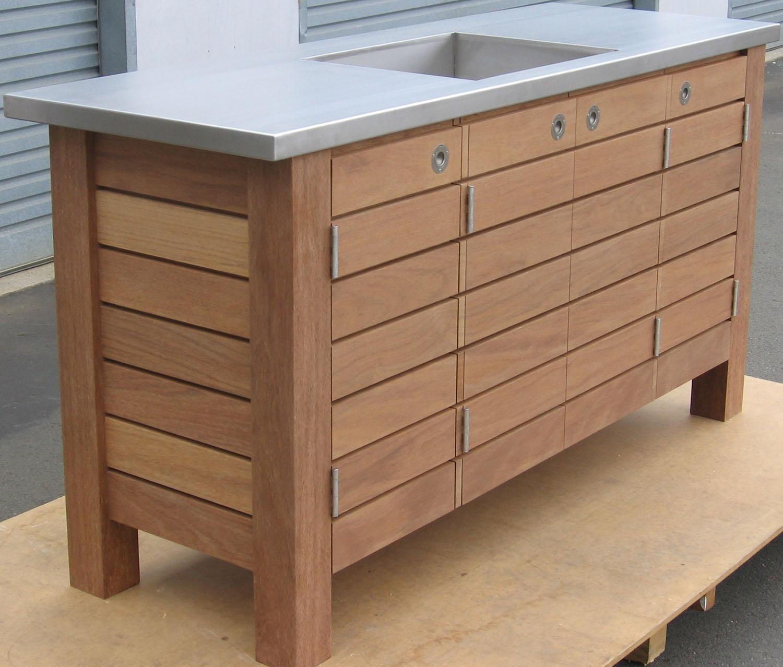 Teak outdoor fish filleting bench