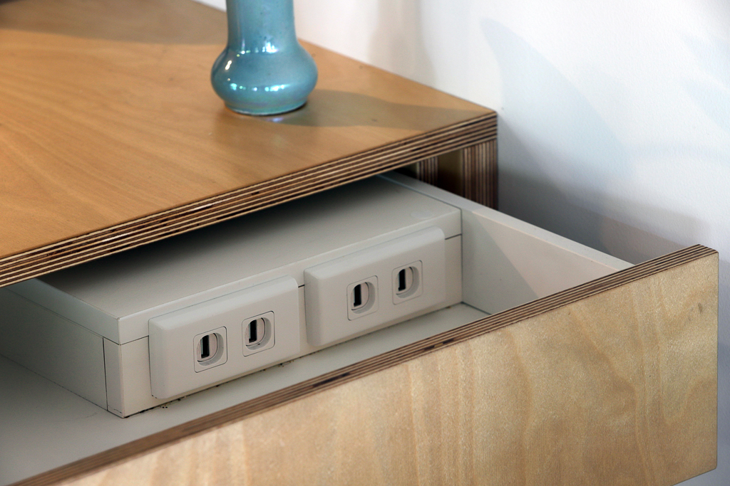 USB charging points hidden away in a push-to-open soft close drawer