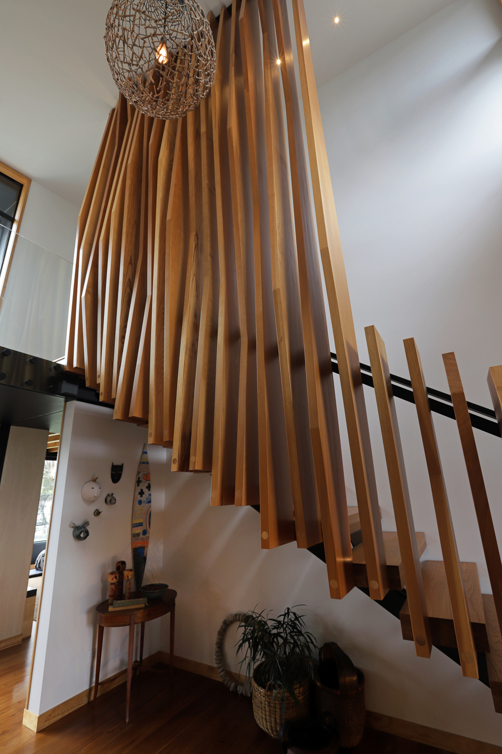 Architecturally designed staircase with solid oak treads and Malaysian kauri fins