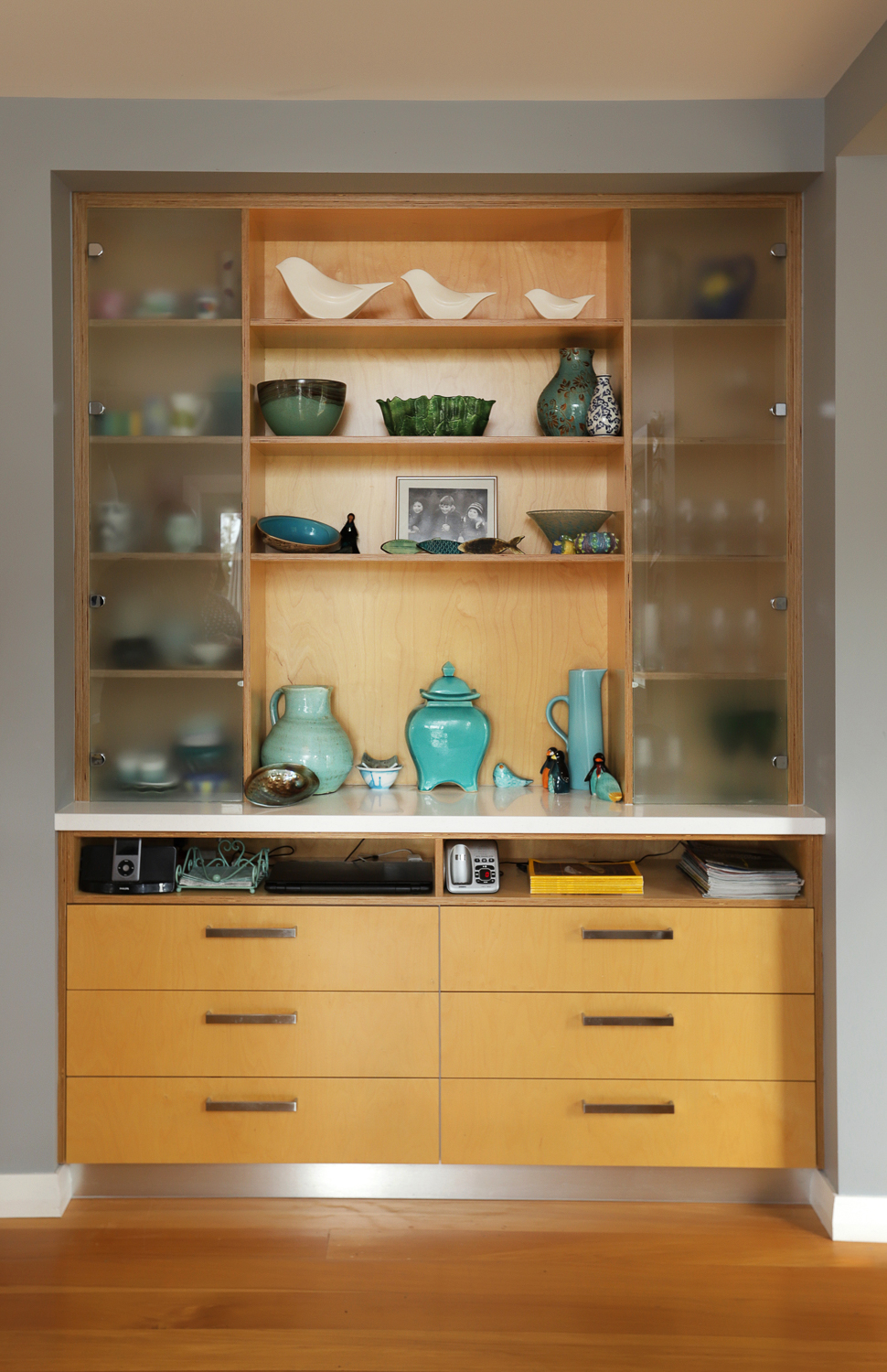 Birch ply cabinet with frosted glass doors