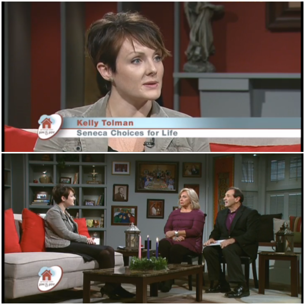 Kelly appearing on EWTN's  At Home With Jim and Joy  to discuss  Seneca, Choices for Life .