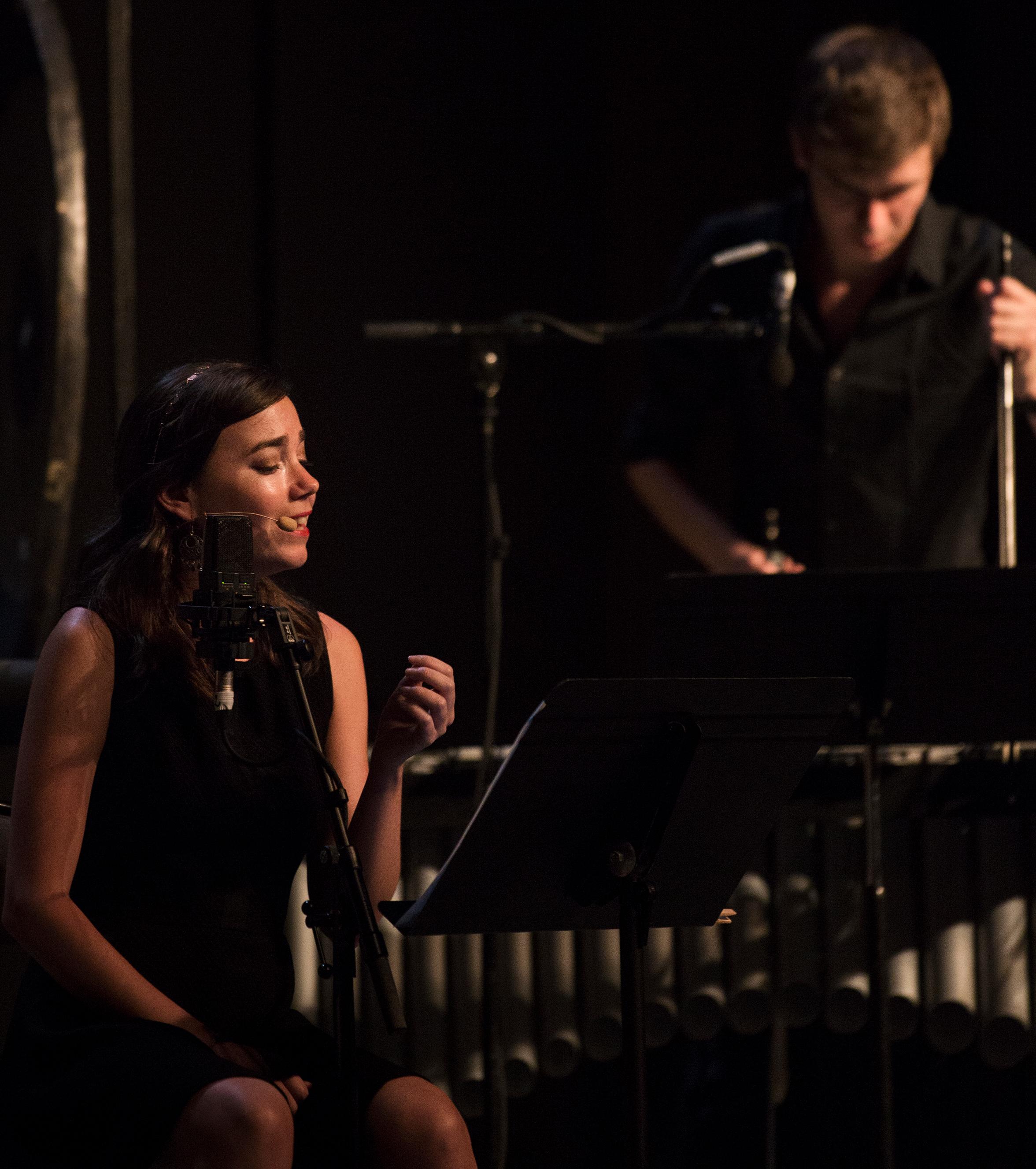Jennifer Courcier and Magali Simard Galdès, sopranos; Dorian Selmi, percussion. Festival d'Aix-en-Provence, July 2017.