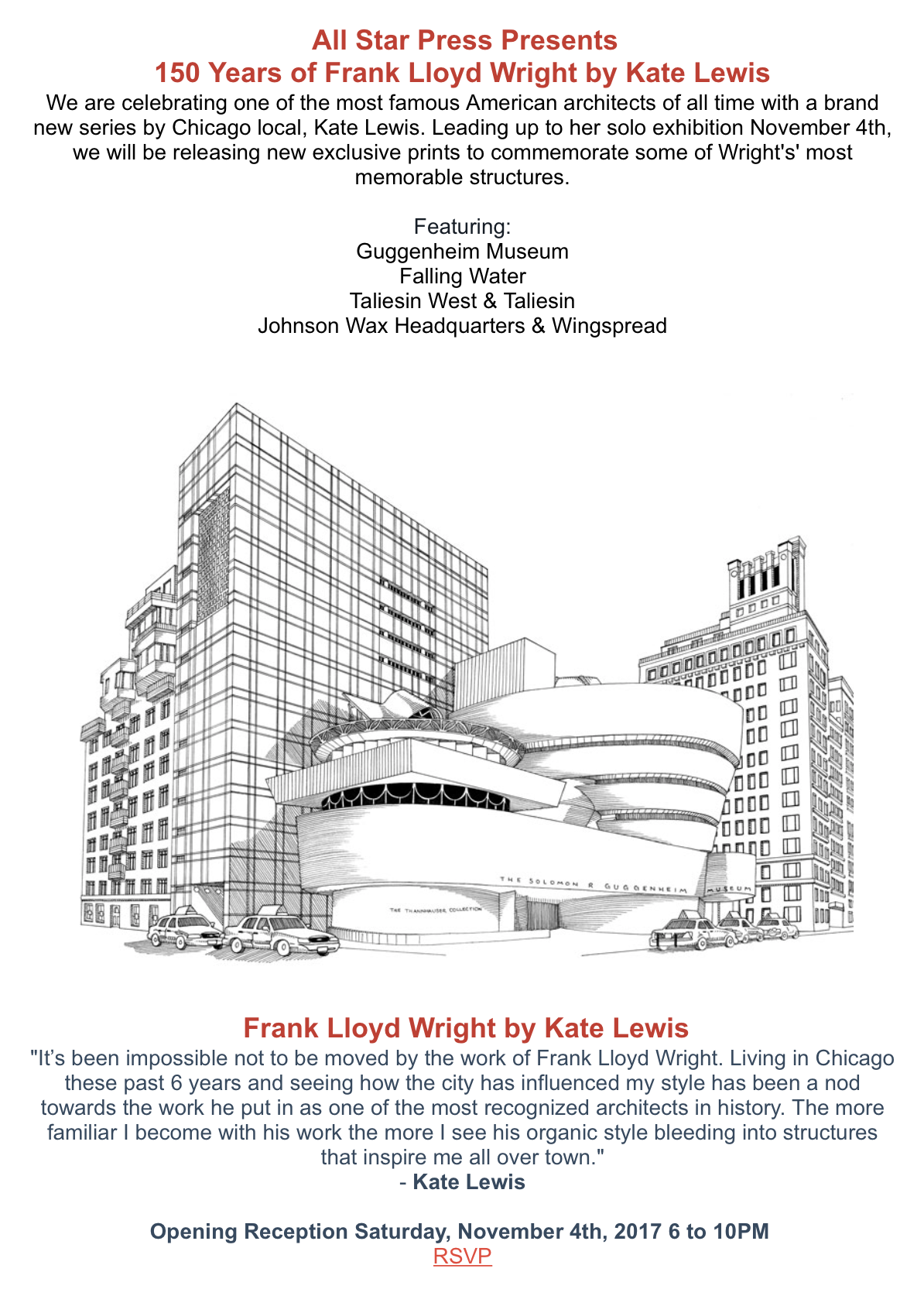 All Star Press - 150 Years of Frank Lloyd Wright by Kate Lewis