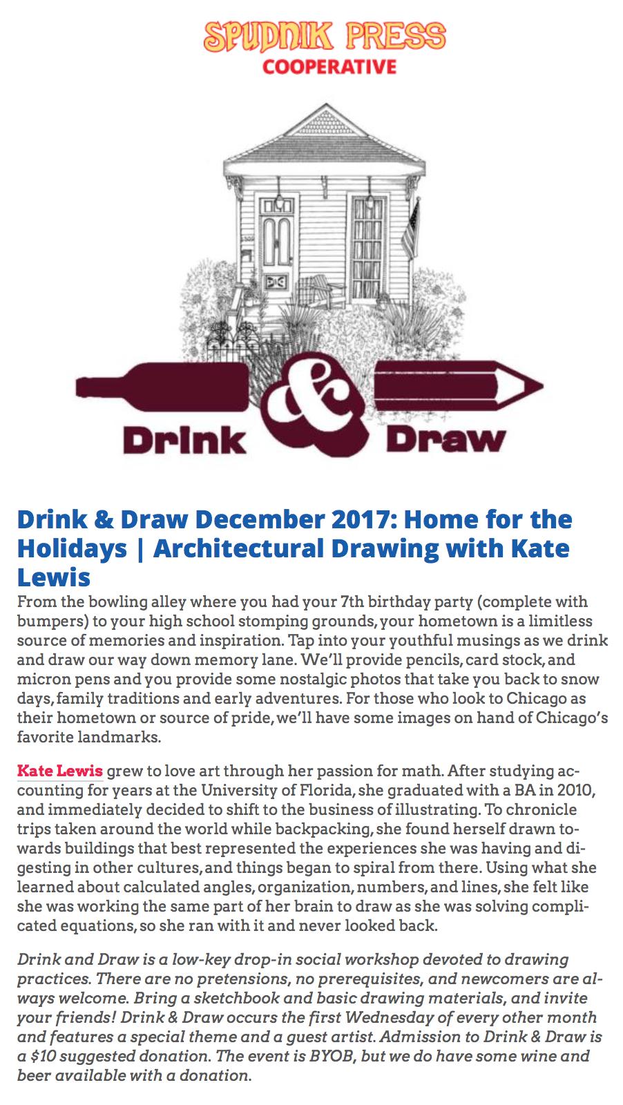 Spudnik Press Drink & Draw with Kate Lewis