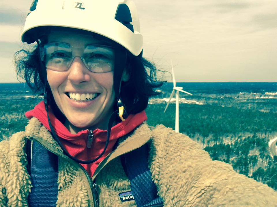 As part of her research, Clarice Assad was invited by GE to climb an active windmill in Cape Cod, Massachusetts.