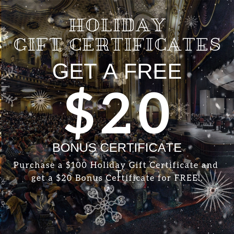 GET $20 BONUS CARD FREE |  Purchase a $100 Albany Symphony gift certificate online, by phone or at the Box Office and get a $20 bonus certificate FREE!  ON SALE NOW. Offer available through Fri. 12/31/18. Bonus card expires 6/5/19