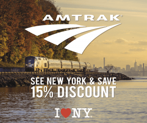 15% discount off the regular (full) adult rail fare on Amtrak within New York State on selected service routes.