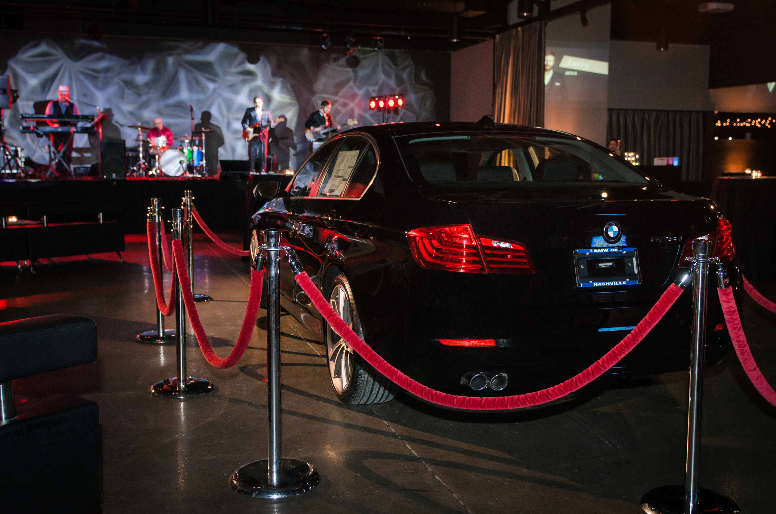 A BMW car was immersed in the middle of the room at The Rosewall