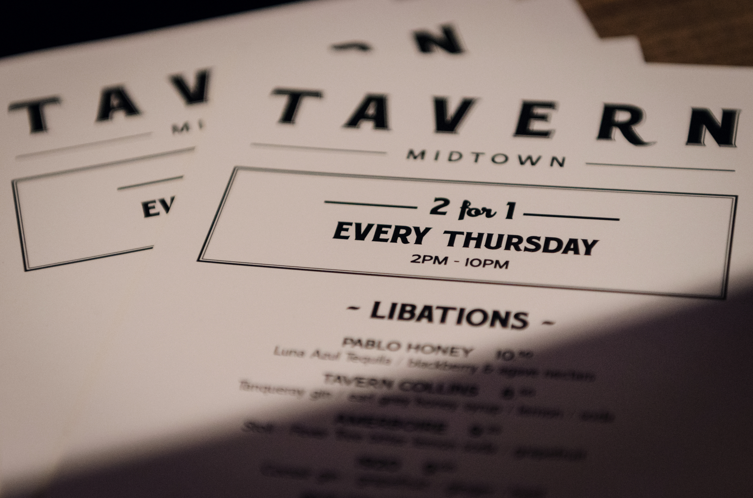 Tavern  2-for-1s are now moved to Thursday. Come over at 2 PM and start early on the fun!