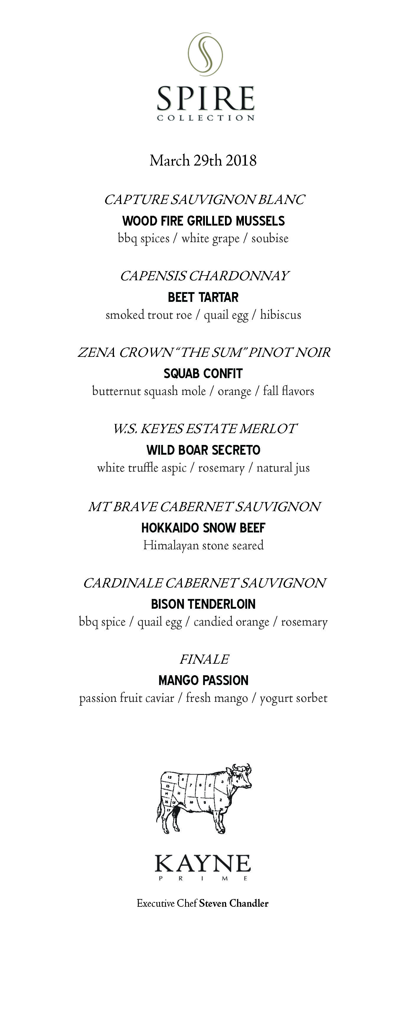 Spire Collection Dinner Menu