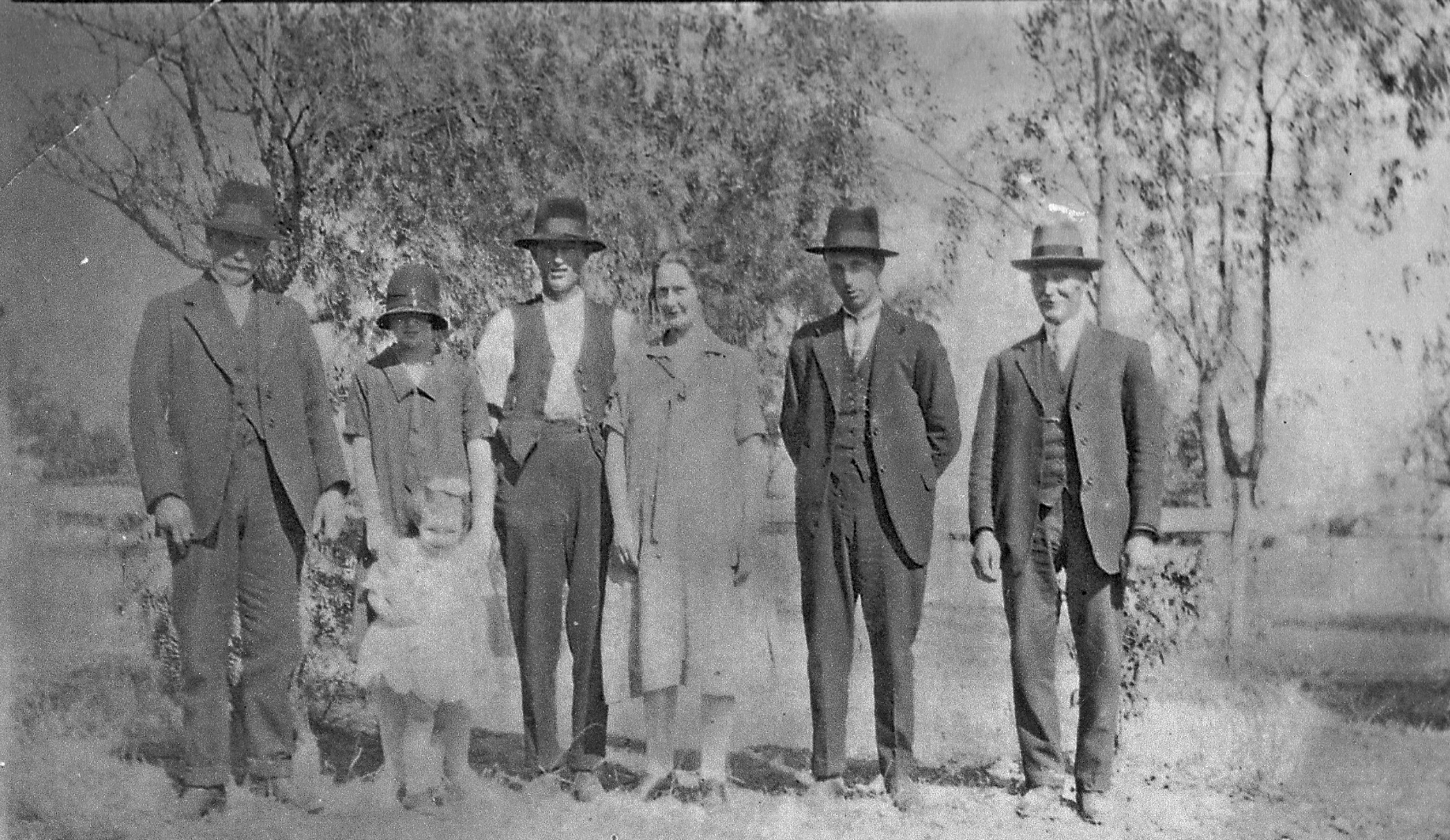 The Hedley Family: John [an original settler], Kate & Mary [child in front], Frank, Rose [Frank's wife], Mick and Jack.