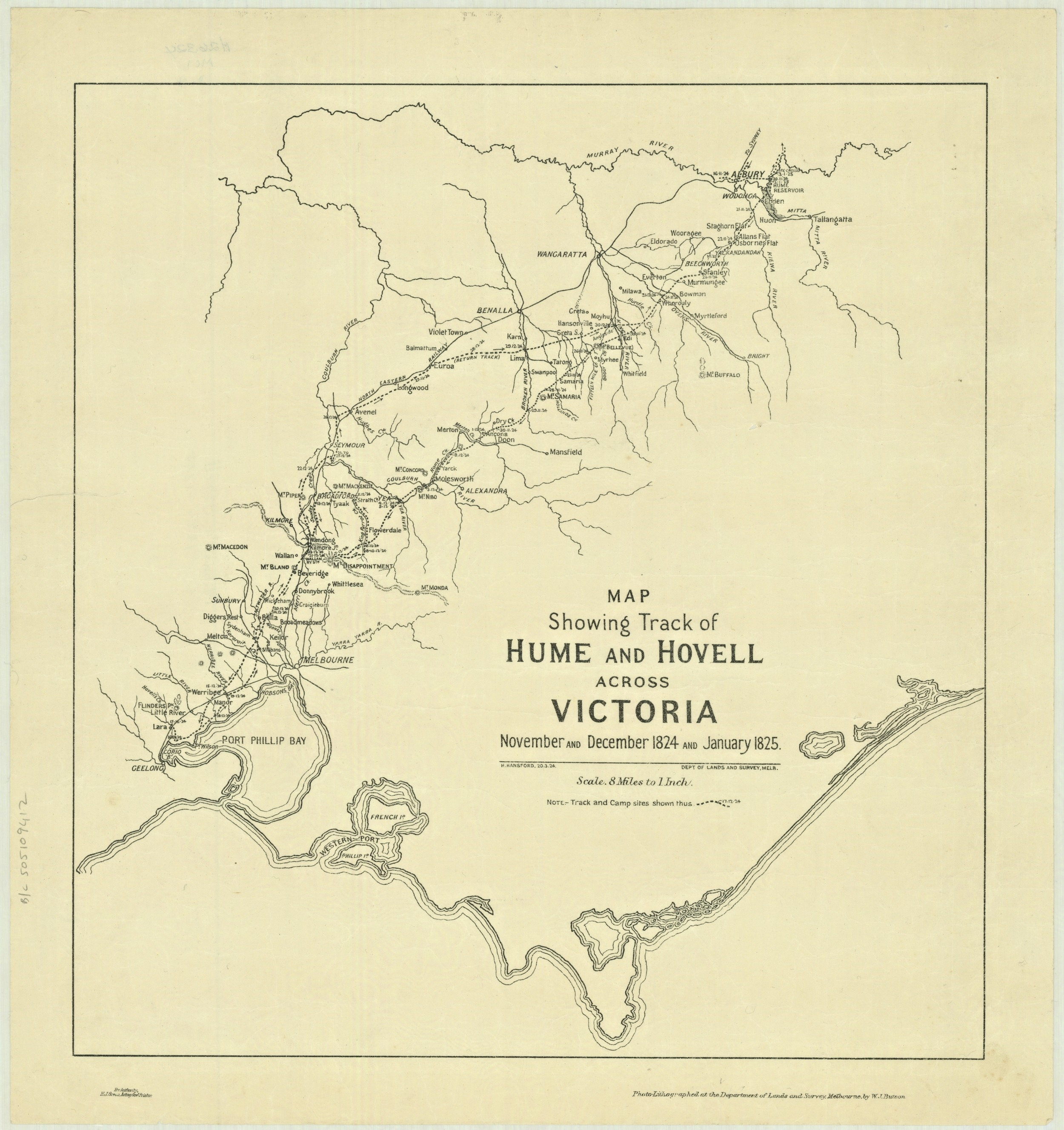 A map showing the track of explorers Hume and Hovell across Victoria. November and December 1824 and January 1825.
