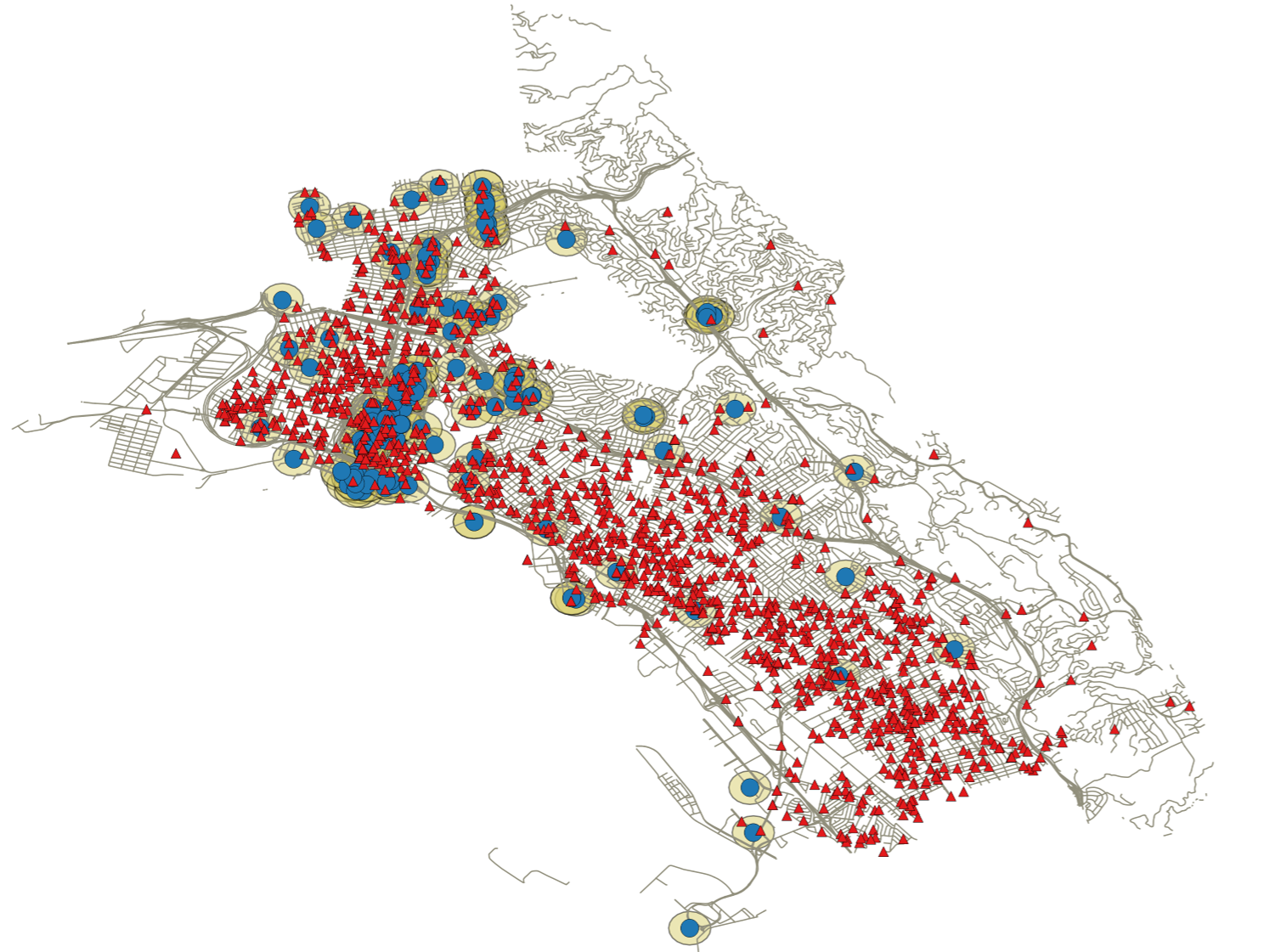 Map of Crime Events and Restaurants in Oakland, CA, 2013-2014