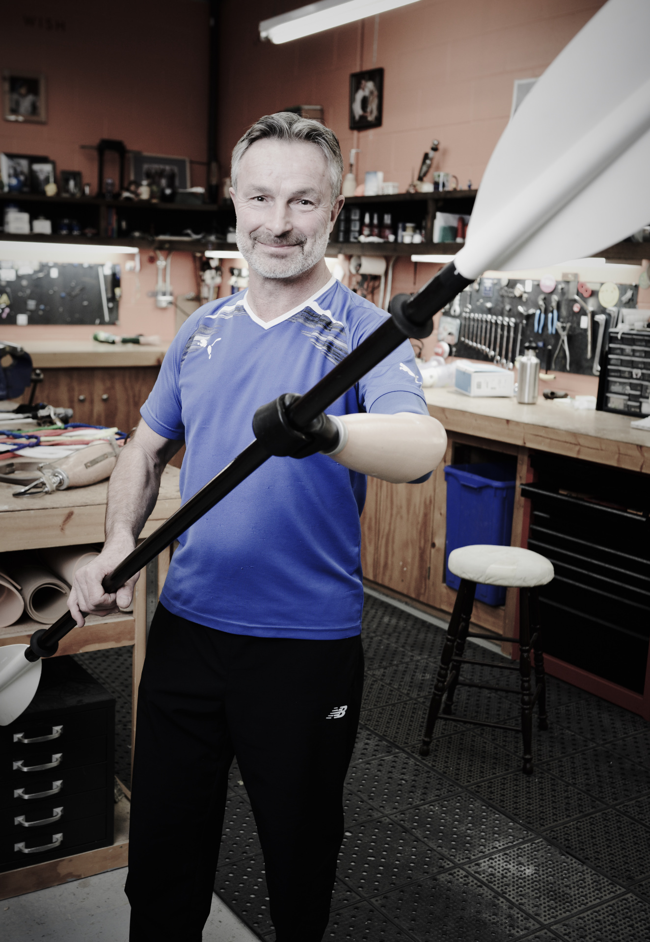 man with transradial kayak prosthesis