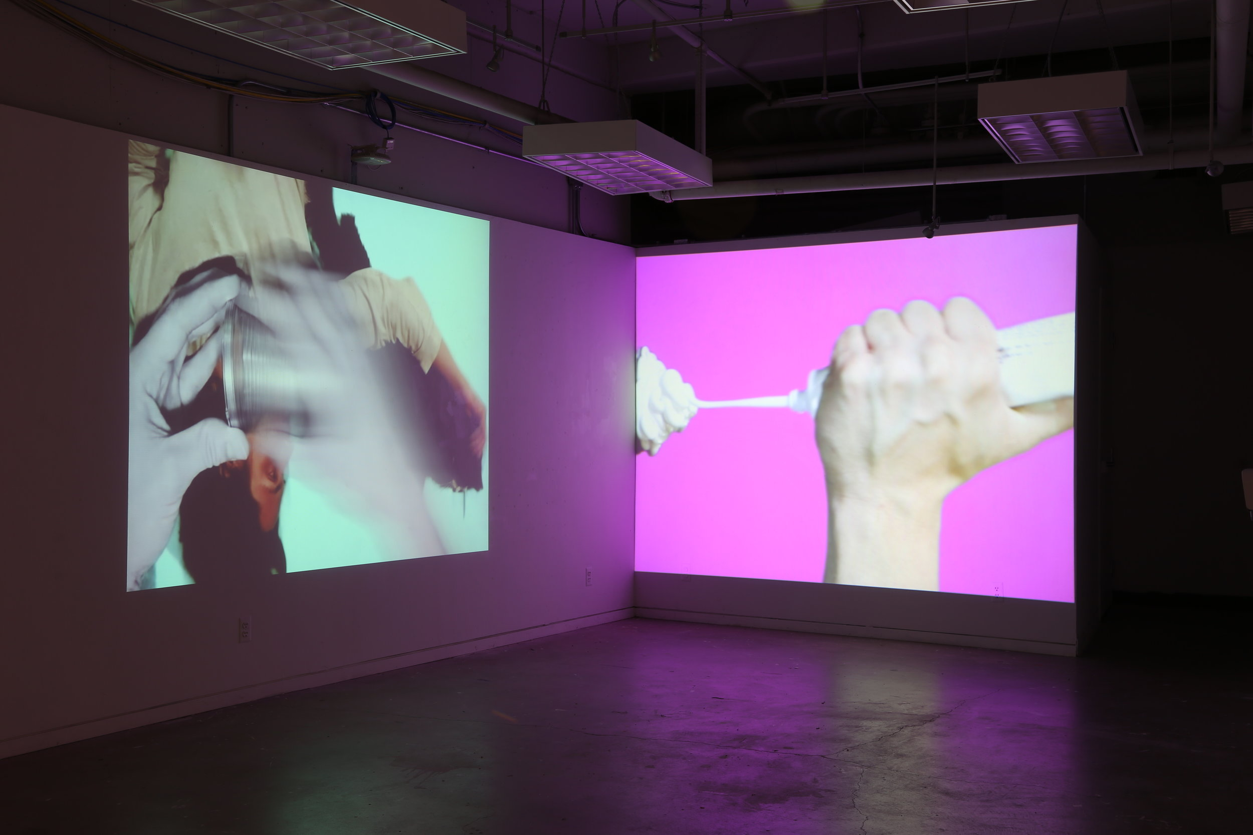 Installation shot of  Meagan  and  A Quiet Place