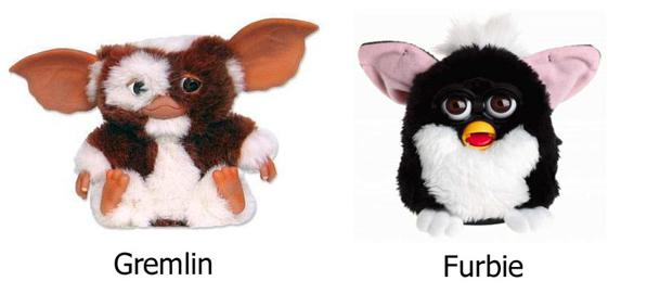 Gremlins = scary. Furbies = cute.