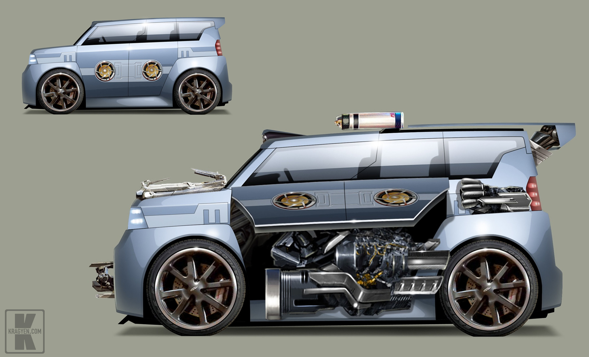 Soundwave Stealth Force Design Rendering showing both closed and open modes