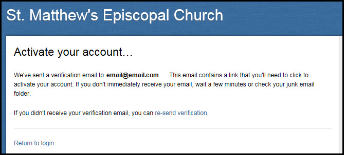 Step 3: Fellowship One notifies you that a verification email was sent to your email account.