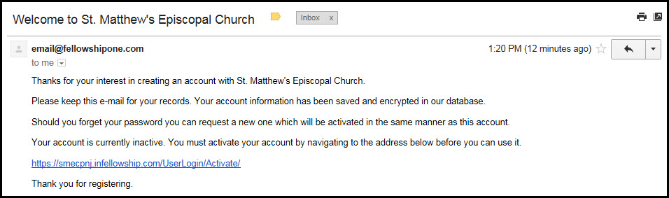Step 4: Find the Fellowship One email in your Inbox, and click on the provided link to activate your account.