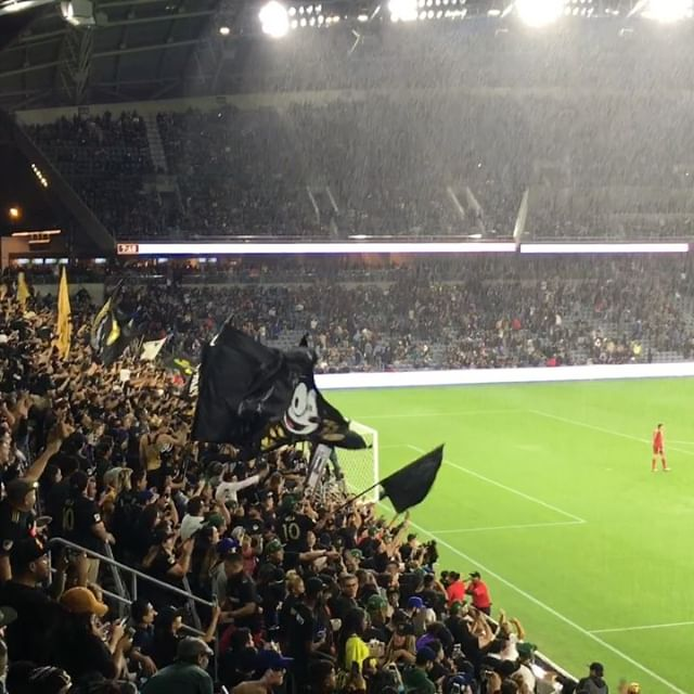 My first #LAFC game in the brand spankin new stadium. Got rained out and wet but still rad