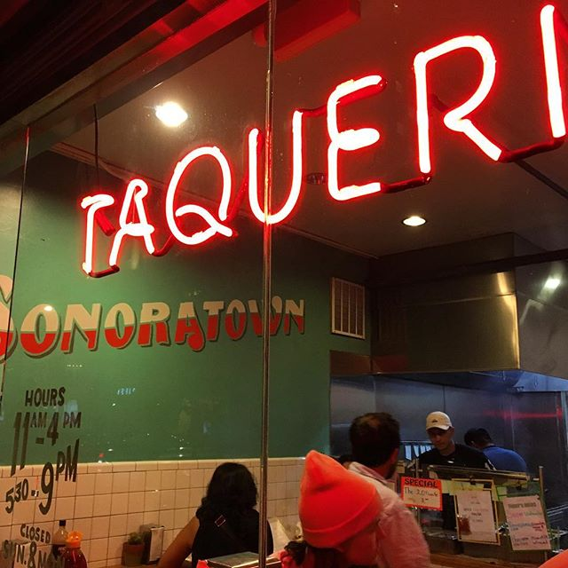 They tell me this place got a write up in the NYT but write ups produce lines boo #sonoratown good tacos though 🍔