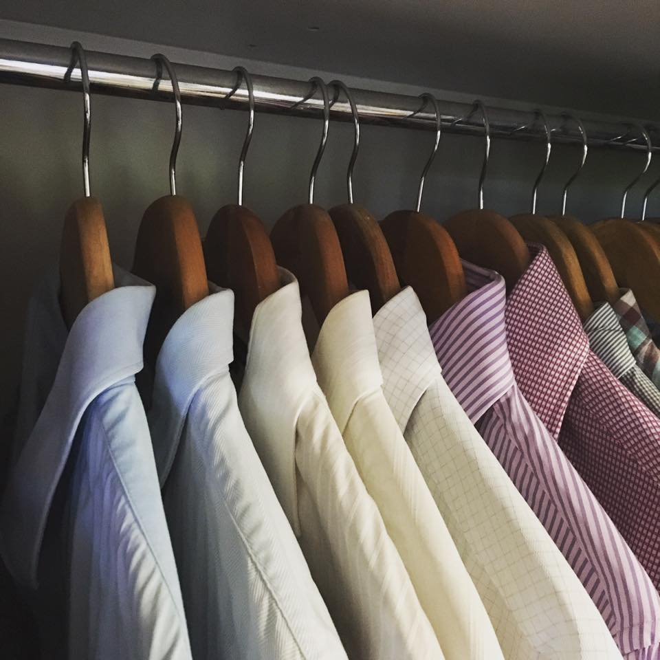 Using the same coat hanger immediately makes the wardrobe look more organised.  Image: The Organising Bee