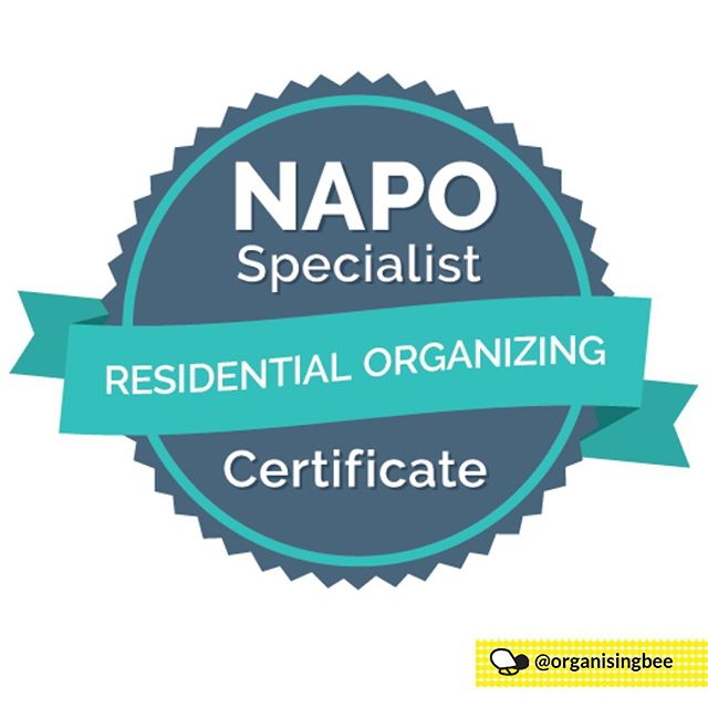 I am proud to announce that I have received a Specialist Certificate in Residential Organizing from the National Association of Productivity and Organizing Professionals University.  This certificate strengthened my knowledge in residential organising and included study in various aspects in the field of professional organising including ADHD in the family, organising solutions for overwhelmed families, chronic disorganisation, the transference of organising and productivity skills and ways to eliminate excess.  All part of my commitment to continued professional development.