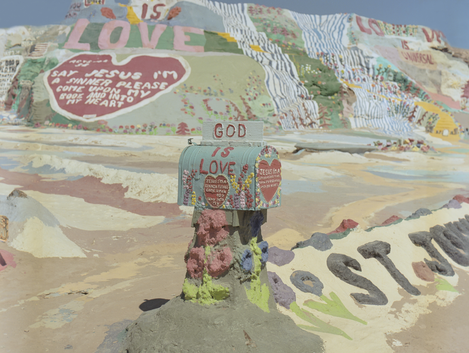 28 Aug 2016, Salvation Mountain, Niland, CA. Pentax 645, Ektar 100 @ 400, Developed (Unicolor) and Scanned by me.