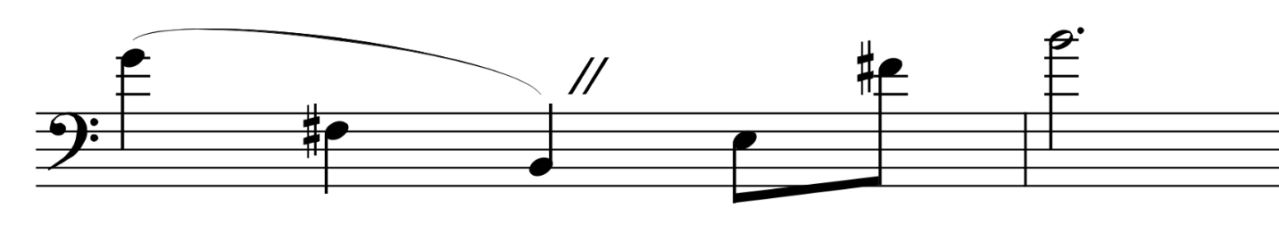 The Swan , gestures with stretched-out intervals (range)