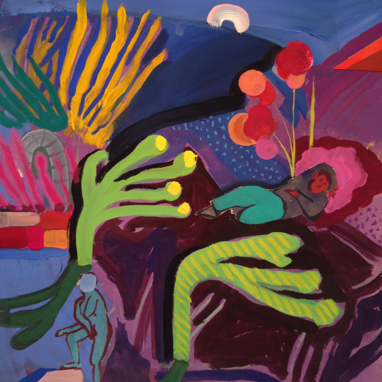 Asleep In The Garden   2015  Gouache, collage