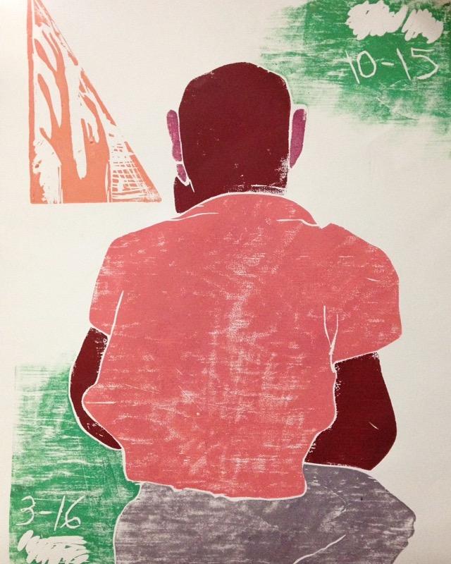 Long-Eared Buddha   2016  color woodblock print (proof)
