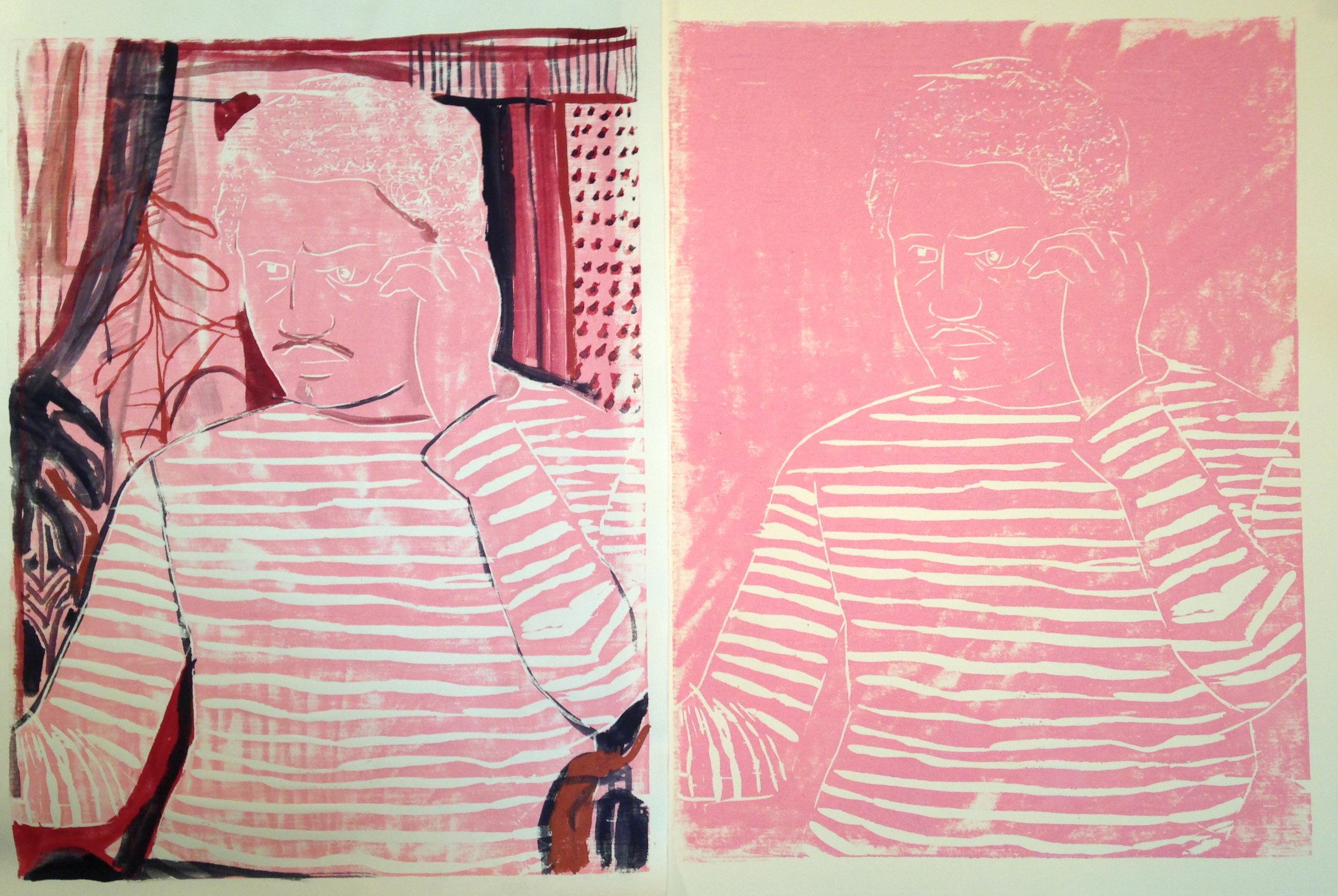 Bob Thompson Double Portrait   2016  color woodblock print, gouache, ink