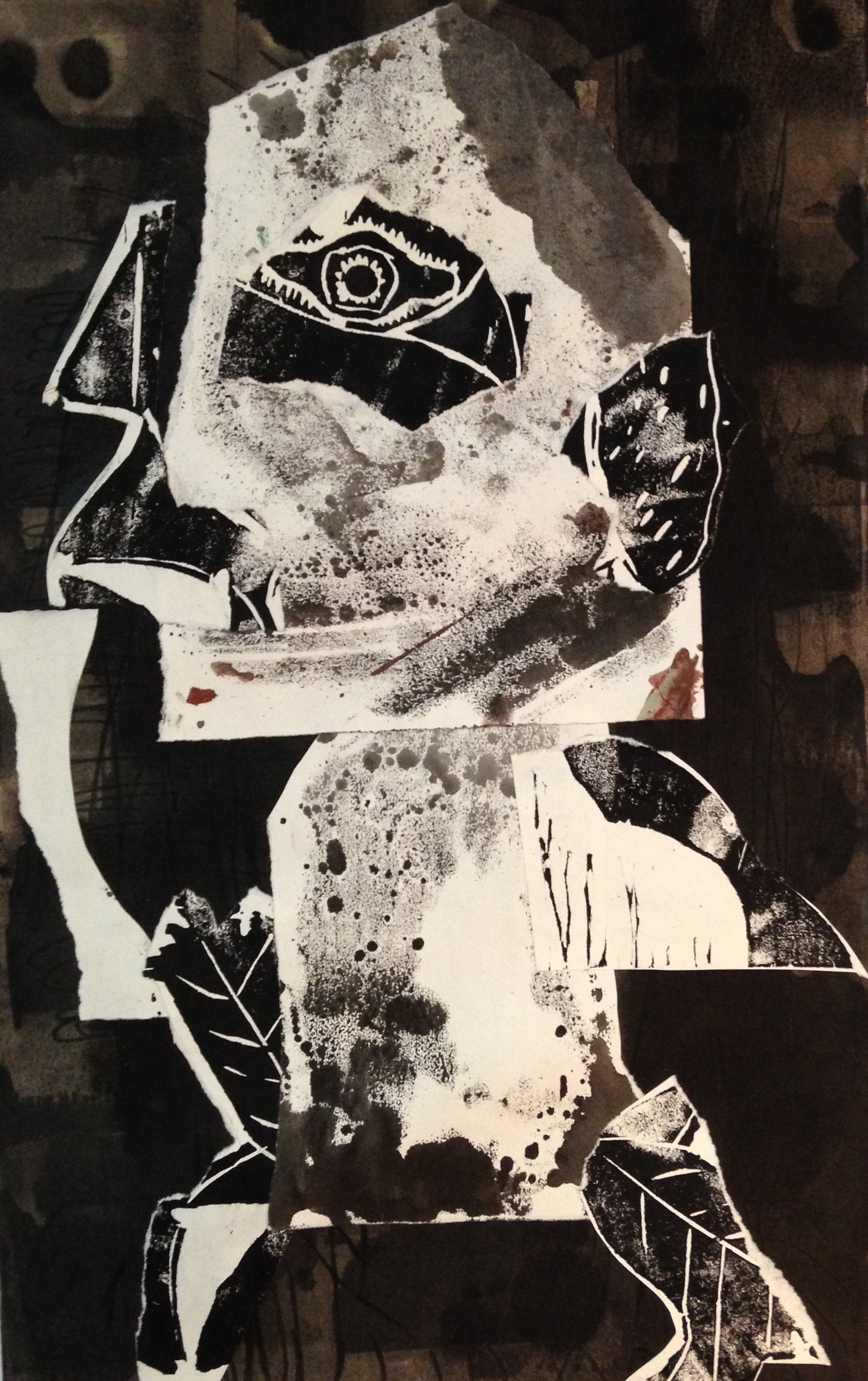 Natural Man   2016  ink, ink transfer, charcoal, collage, on paper