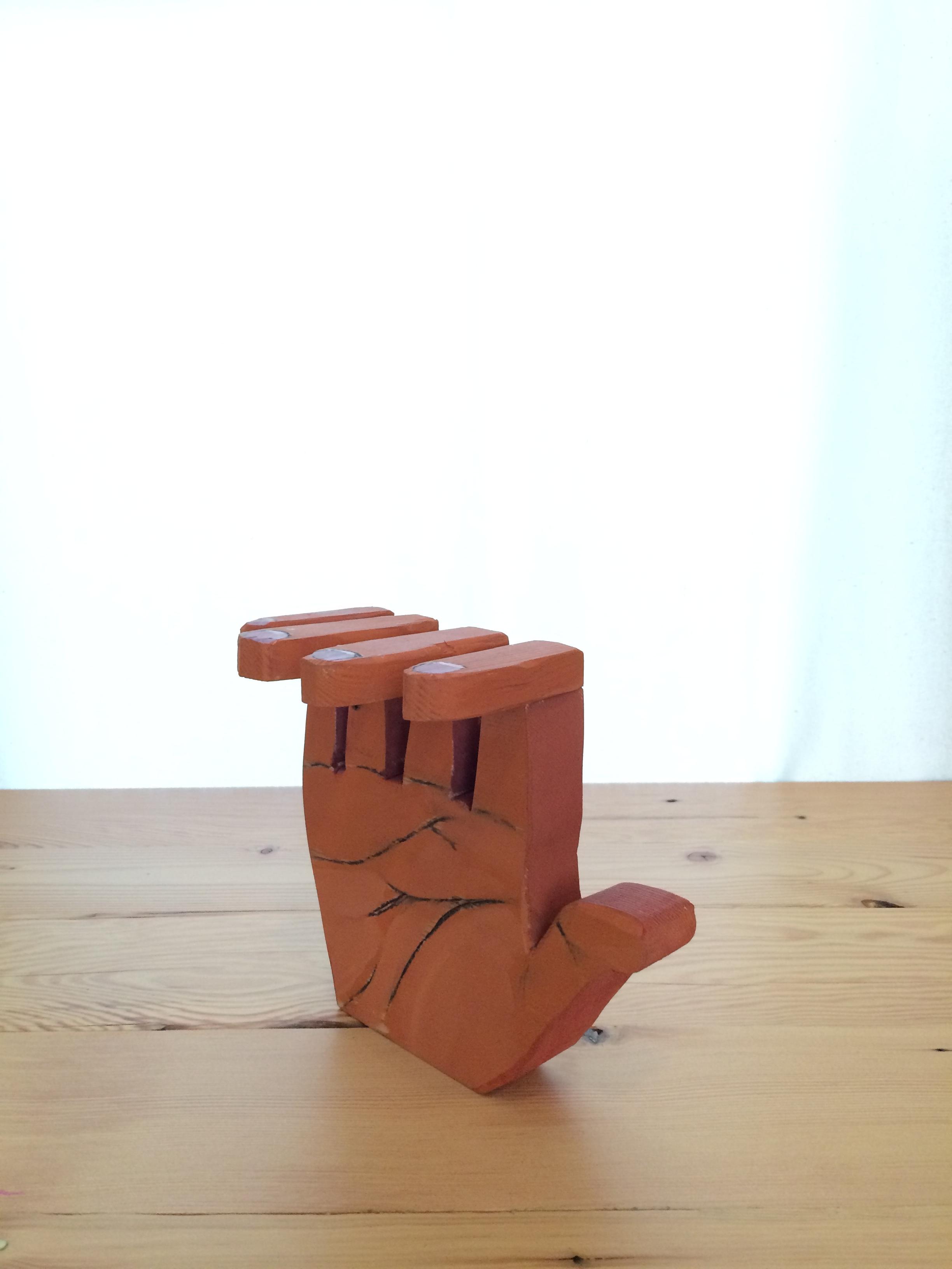 Orange Hand   2016  Fir, Flashe, charcoal