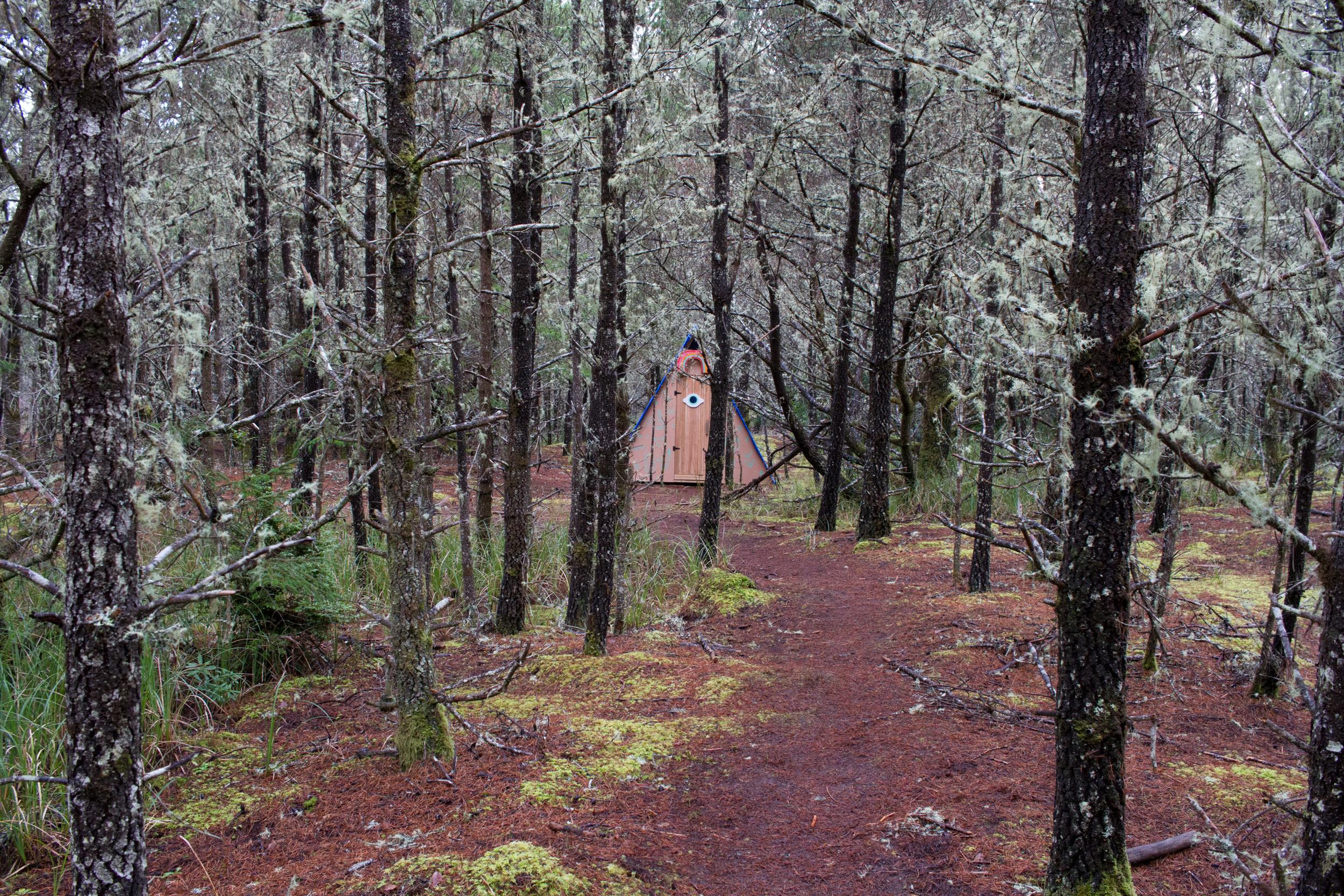 """""""The Healing Machine"""" with surrounding woods."""