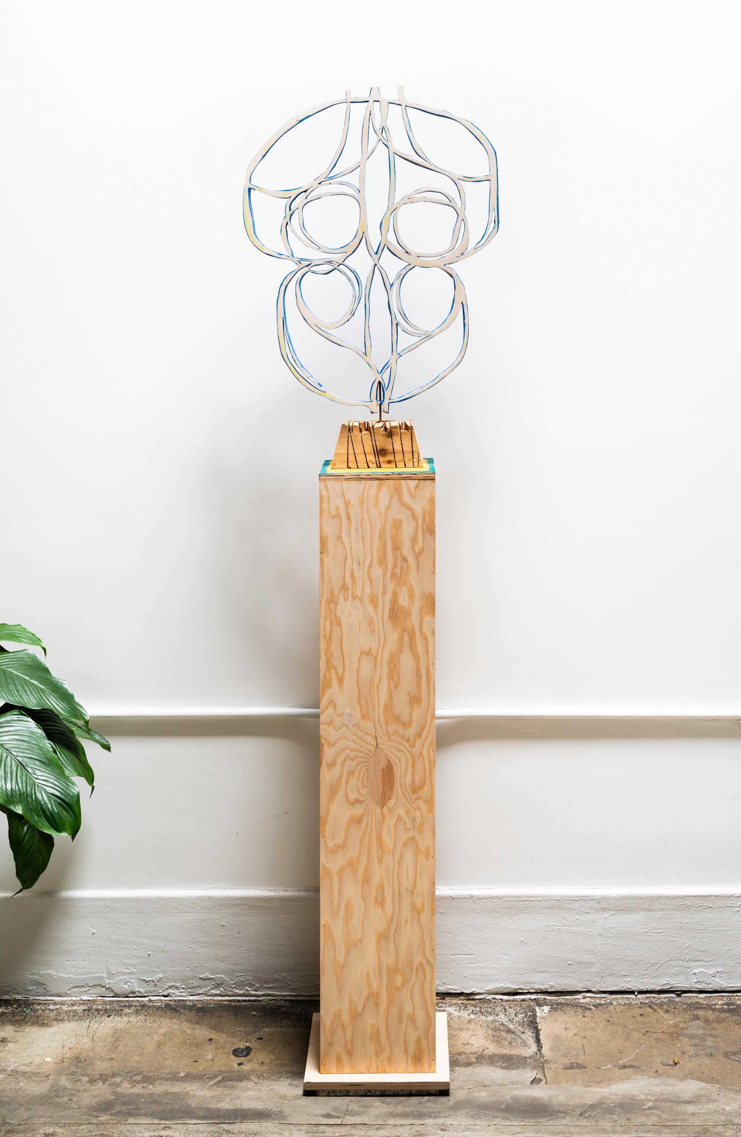 Untitled   2019  Birch ply, fir ply, flashe, colored pencil, cedar, steel