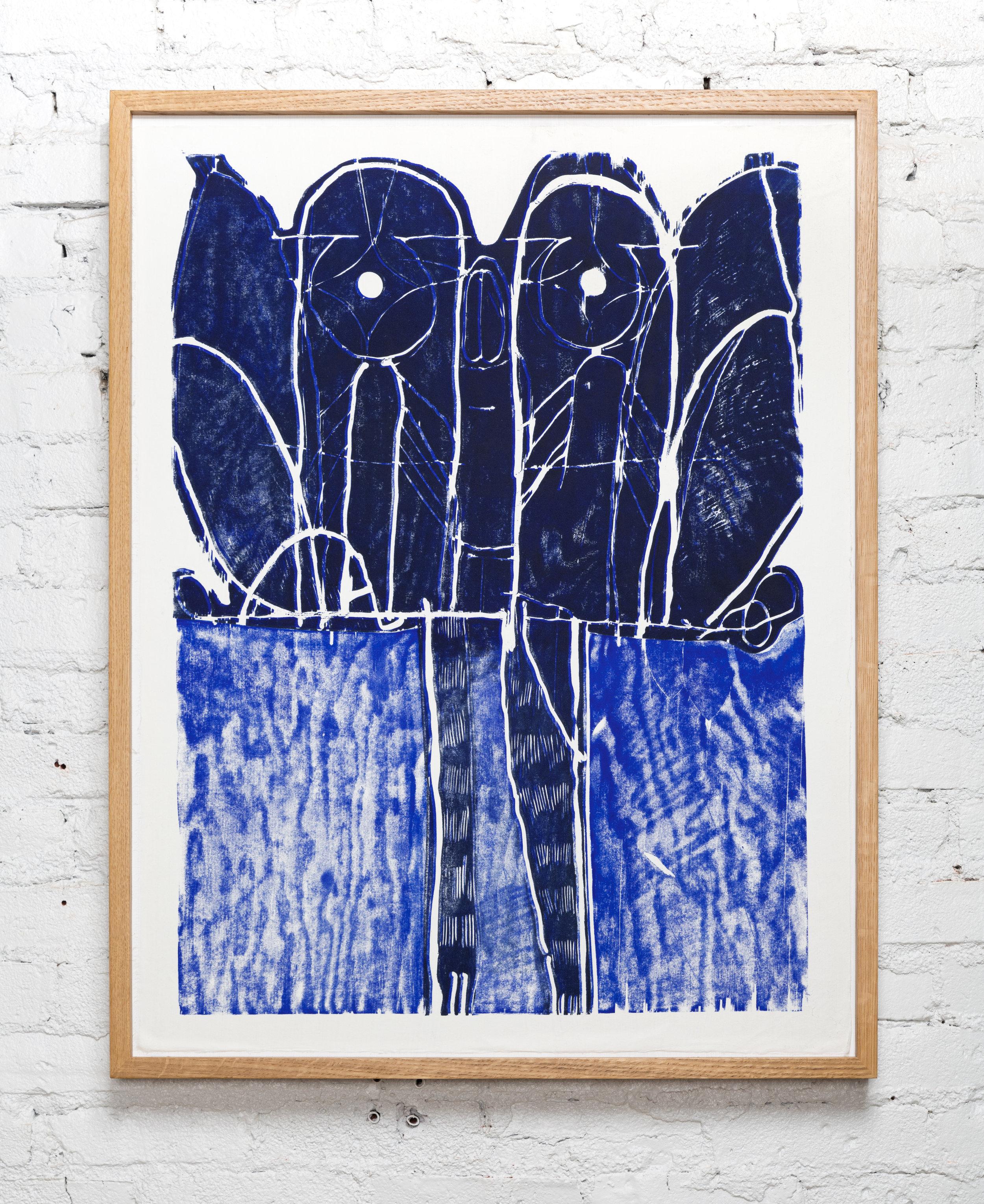 Bat   2019  Woodblock monotype in white oak frame