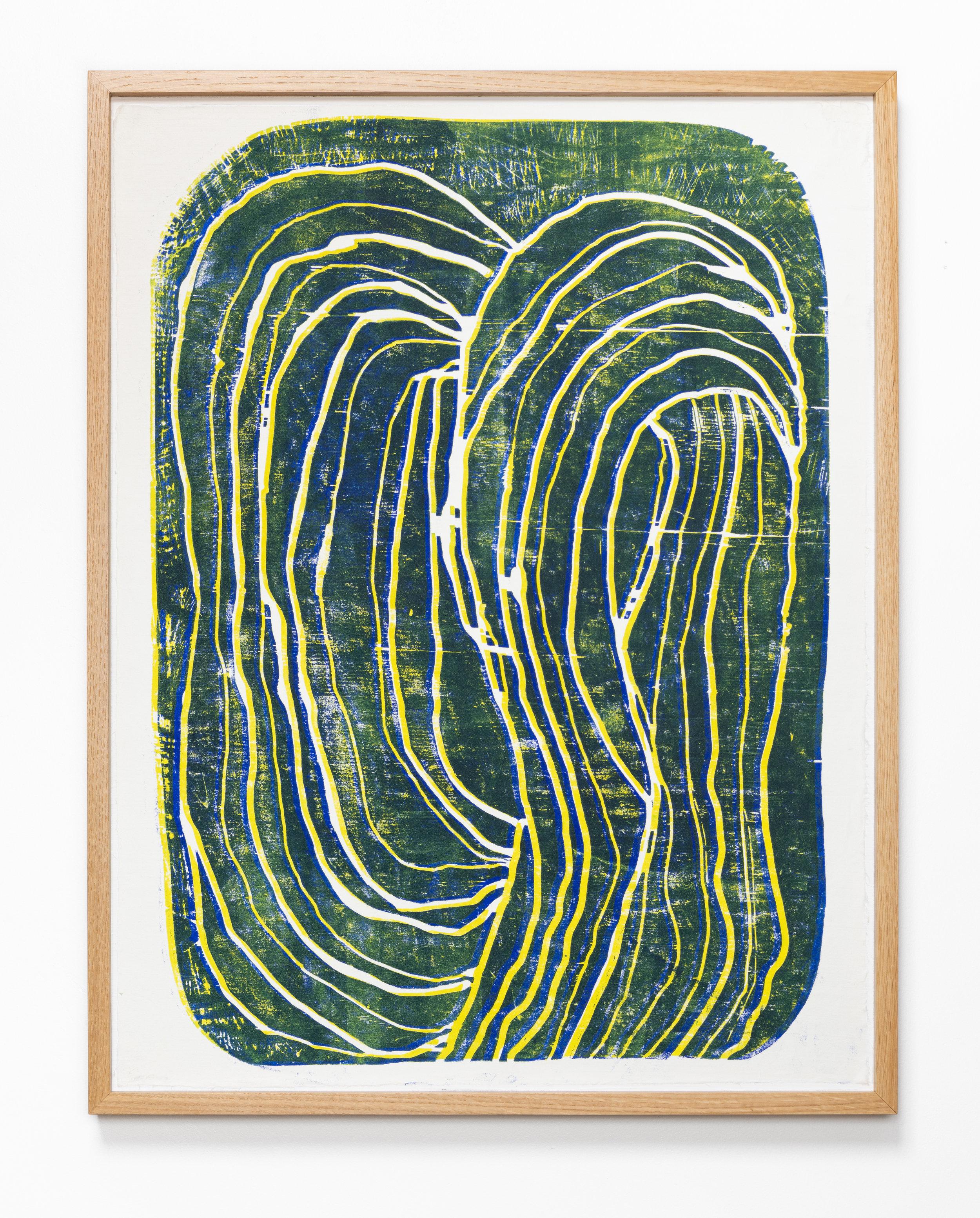 Corn Silk   2019  Woodblock monotype in white oak frame