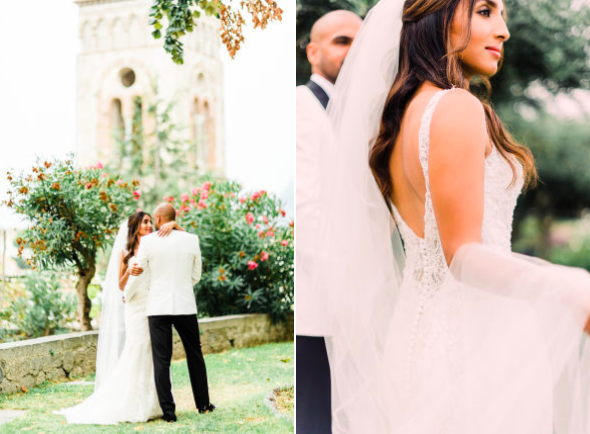 The couple wed at the Hotel Belmond Caruso