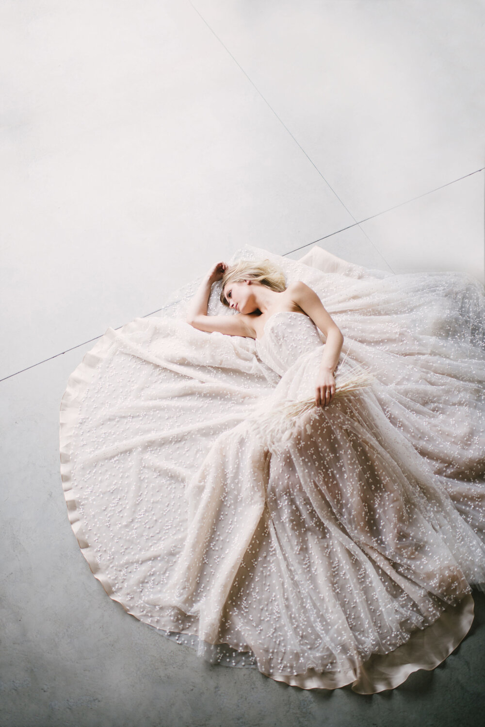 Floating on Organza and Spotted tulle, the ultimate modern ball gown - Schiffer by Dan Jones Label