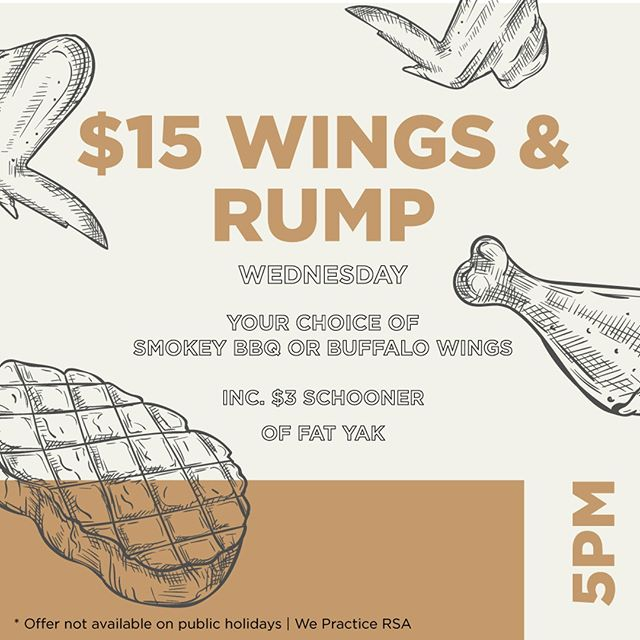 🐓🍗🐄 It's Wednesday, so you know what that means! 🐓🍗🐄🥩 Join us for $15 Wings & Rump! #royalhotelcarlton #sydneypubs #pubfood #sydneyeats #sydneyfood #dinnerdeals