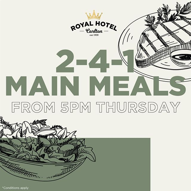 Enjoy 2 for 1 main meals tonight from 5pm! Conditions apply. 🍕🍔🍝 ▪️ ▪️ ▪️ #royalhotelcarlton #sydneypubs #pubfood #sydneyeats #sydneyfood #dinnerdeals #sydneyfoodie #sansouci #kogarah #sutherlandshire #southsydney #shirefoodie #shiretalk