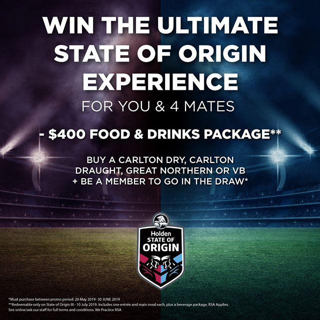 🔴 2 weeks to go to enter our State of Origin competition! 🔵 Simply purchase a Carlton Dry, Carlton Draught, Great Northern or VB in venue & be a member (Or sign-up) and you can go in the draw to win a $400 food and drinks package for you and 4 mates  for Game III. Check out the T&CS online.  #stateoforigin #stateoforigin2019 #NRL #nrl2019 #carltondry #carltondraught #vb #greatnorthern #win #beer #bestseatsinhouse #footy #origin #nsw #nswblues #bleedblue #wepracticersa #drinkresponsibly
