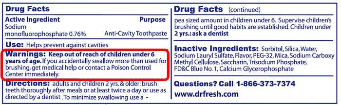 FDA toothpaste label