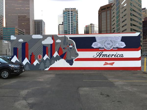 "Full View of the Budweiser ""America"" Mural"