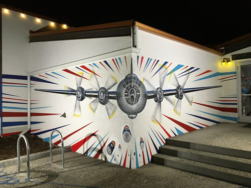 Wide View of So-Gnar x Declaration Brewery Airplane Mural