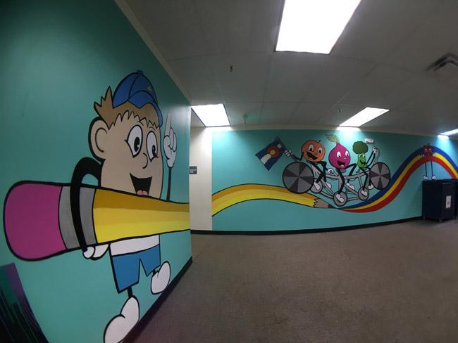 Pat-Milbery_Pat-McKinney_Montbello-School-Installation_Pencil_Wide-Angle_Rainbow-Road.jpg
