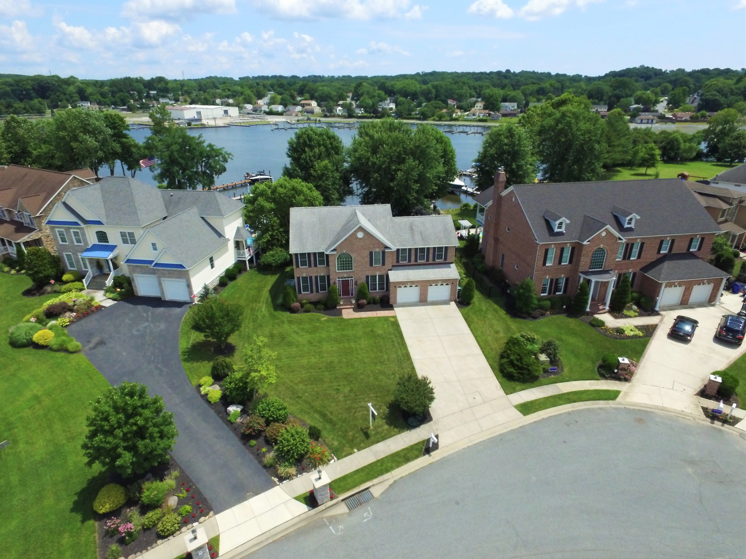 Real Estate photographic image by drone. Waterfront property in Maryland.