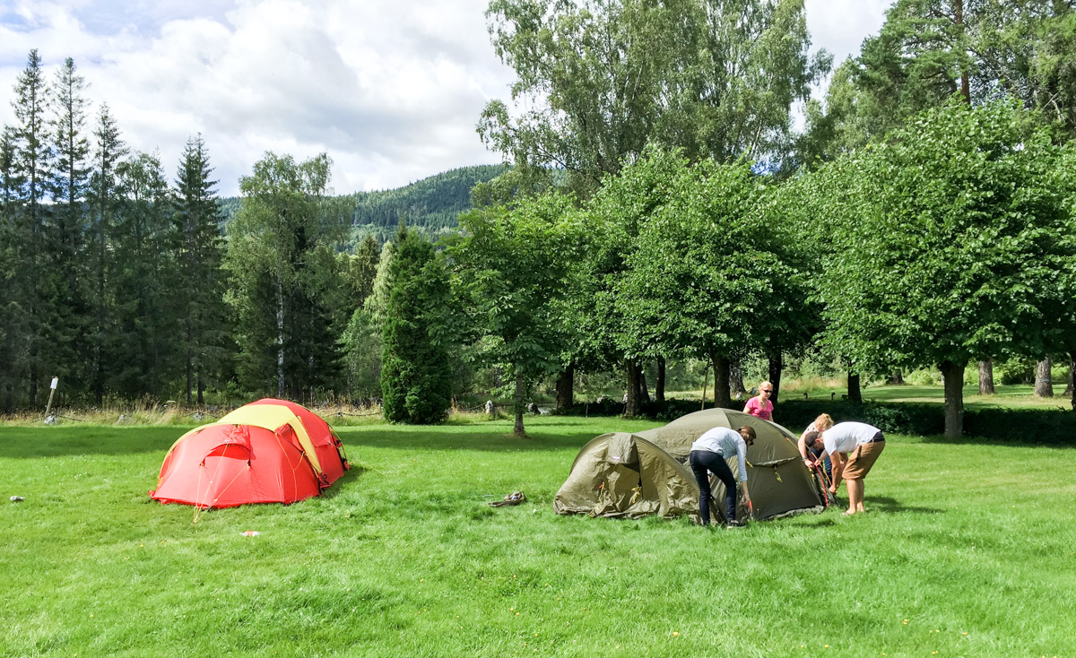Setting up our tents.